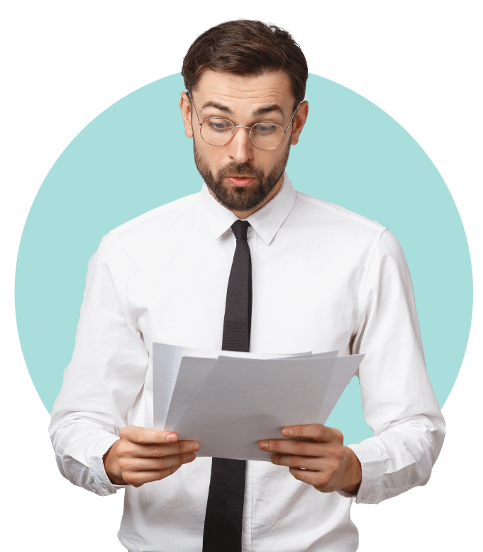 Suprised Man looking at paper with Circle Backrgound