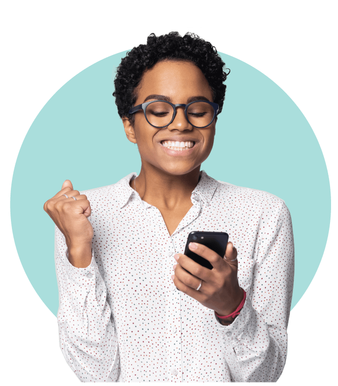 Excited Woman holding phone with Circle Backrgound