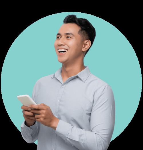 Man Holding Phone Smiling Teal Circle background